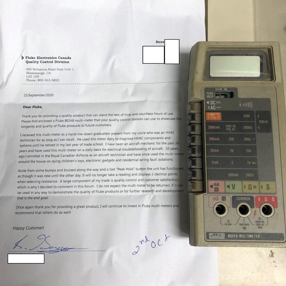 Fluke customer sent a Fluke 80248 multimeter with a letter telling how many years the meter worked through.
