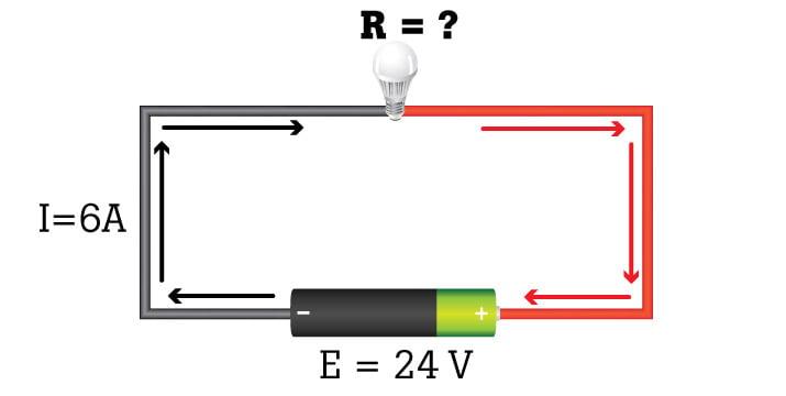 Valori noti di tensione e corrente mostrati in un circuito