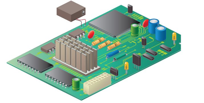 A variety of capacitors (shown in color) in circuit board.