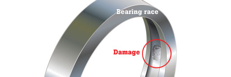 Damage to a bearing race can cause vibration.