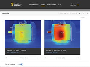 Comparing two IR images on Fluke Connect® Assets software