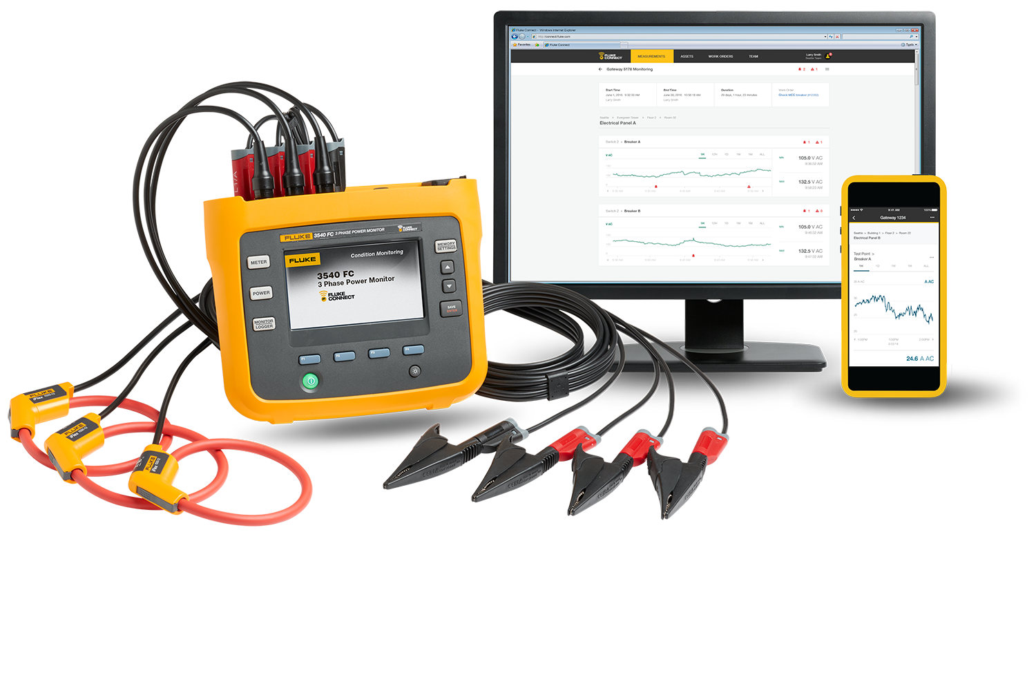 A Fluke 3540 FC Three-Phase Power Monitor and Fluke Connect software on a desktop and smart device.