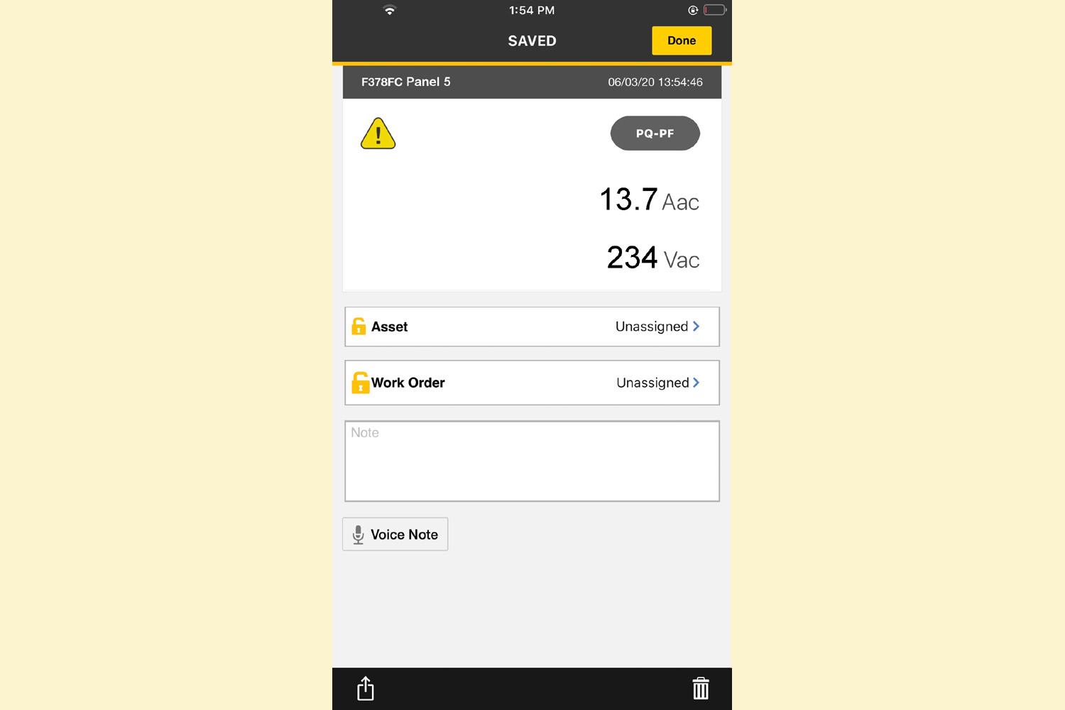 Save results to your phone, capturing data that includes voltage, current and power quality information.