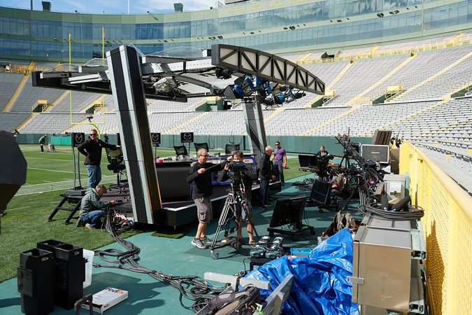 Filmwerks also provides broadcast stage solutions for sporting events. The crew collaborates with camera operators and local electricians to set up the stage.