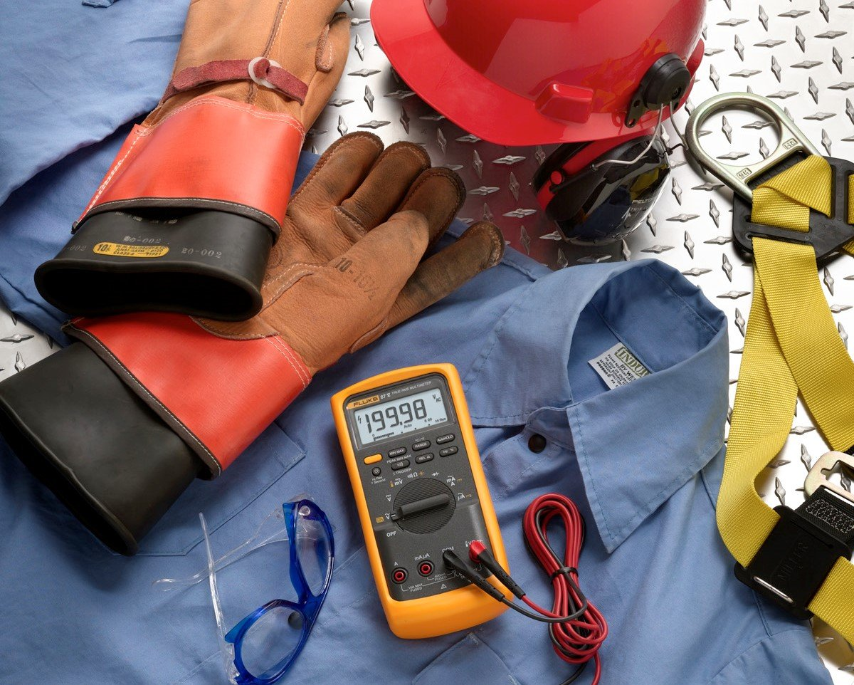 Basic PPE for electricians and solar PV technicians—includes the Fluke 87-V Industrial Multimeter