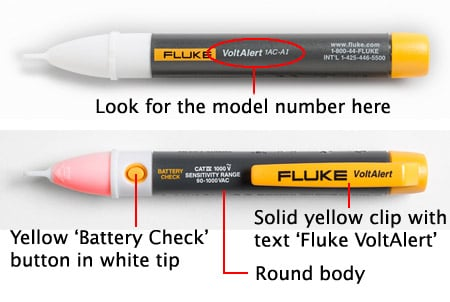 Diagram showing the location of the model number and the Battery Check button on the Fluke VoltAlert.