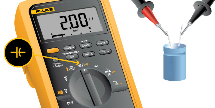 A digital multimeter can quickly measure capacitance