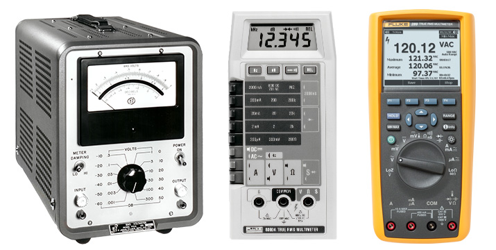 Modern digital multimeters have grown substantially in sophistication and versatility since they were introduced decades ago as the replacement for their analog ancestors (far left).