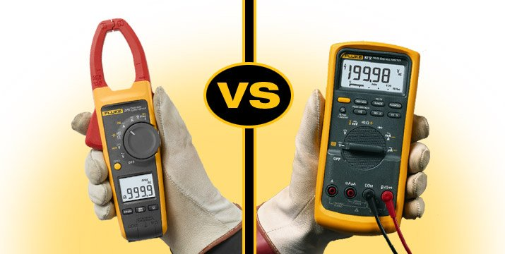 The Fluke 376 clamp meter, left, and the Fluke 87V digital multimeter.