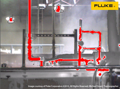 Thermal image of hot water pipes