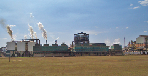 Sugar processing plant that fires its boilers with cane waste.