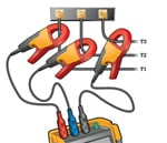 Figure 5. Measure the current through each phase using appropriately rated current clamps.