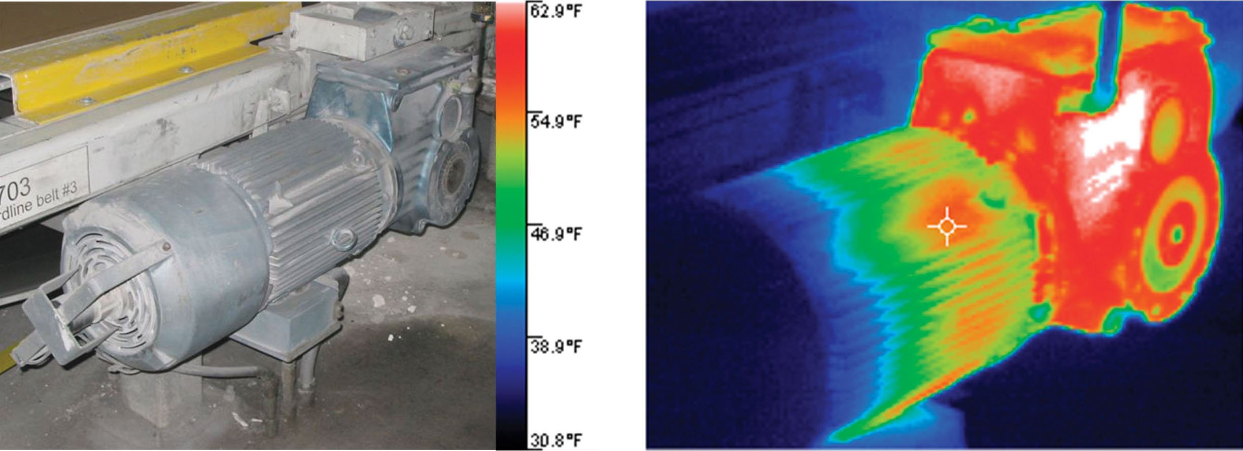 Troubleshooting a cool motor and hot gearbox with infrared cameras