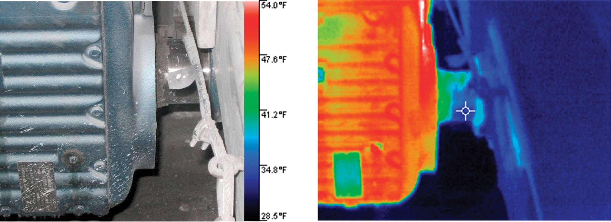 Properly functioning bearings show cool temperature measurements in this thermal image