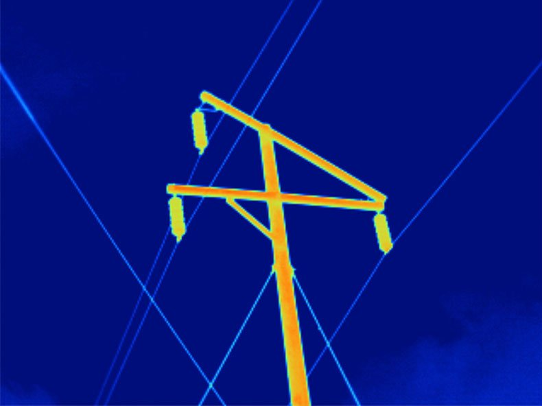 Thermal image of a high voltage power pole