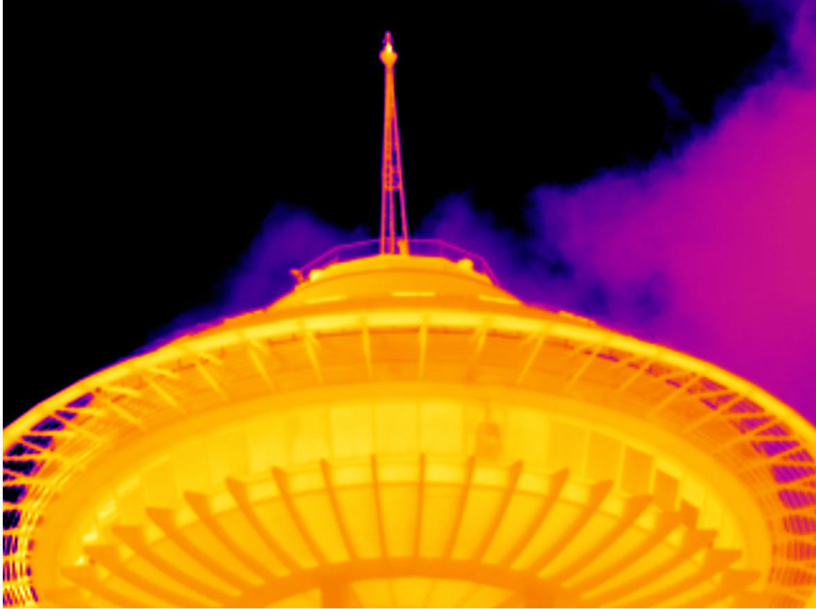 Infrared image of the Seattle Space Needle taken with Fluke 4x telephoto lens