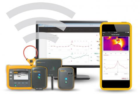 A clickable image of Fluke Connect tools, sensors and software. Leads to the product page.