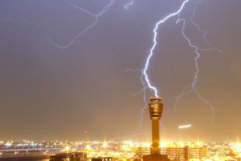 Reassessing airport tower lightning protection systems