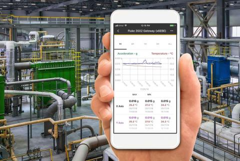 1.	Asset data streaming to a smart device with a facility in the background.