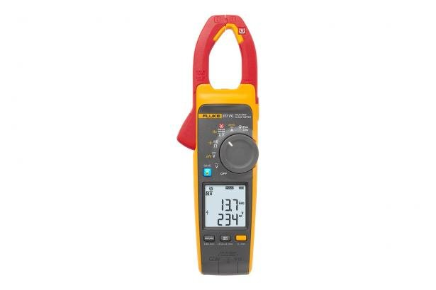 Fluke 377 FC measures voltage and current with the clamp jaw