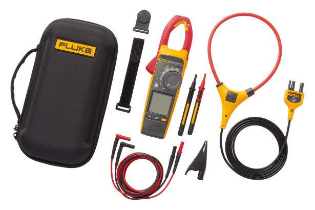 Fluke 377 FC includes clamp, leads, grounding clip, iFlex high-current probe, magnetic hanging strap, premium carrying case.