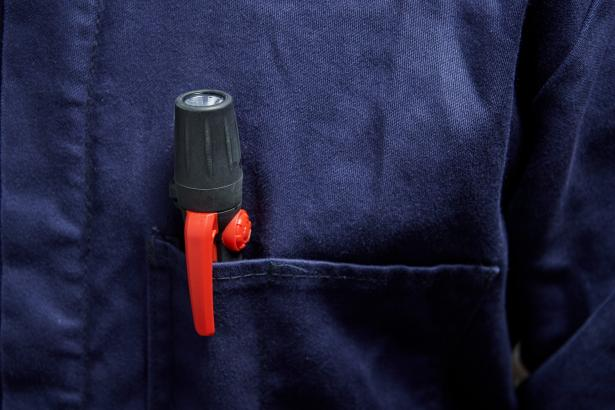 The Fluke FL-45 EX flashlight easily fits in your shirt pocket