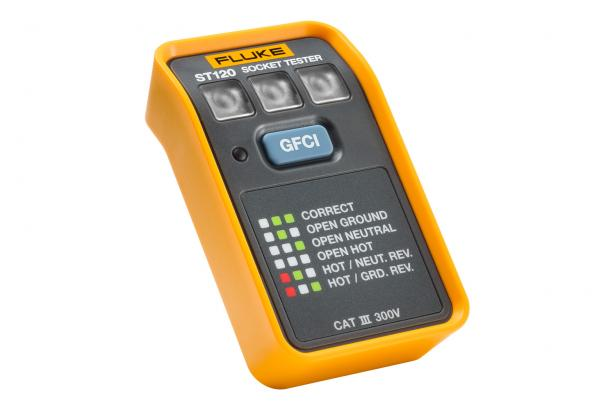 Fluke ST120 GFCI Socket Tester for rapid answers about wiring installations