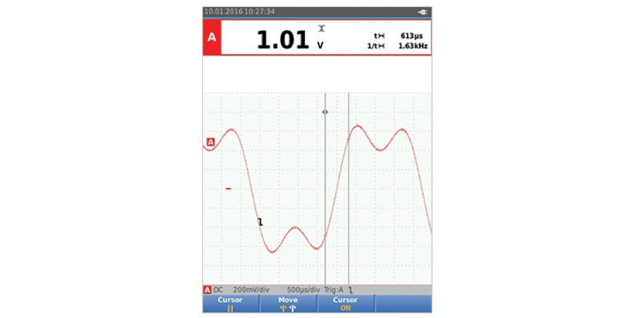 Use cursors and the gridlines to evaluate the rise and fall times of the leading and trailing edges of a waveform